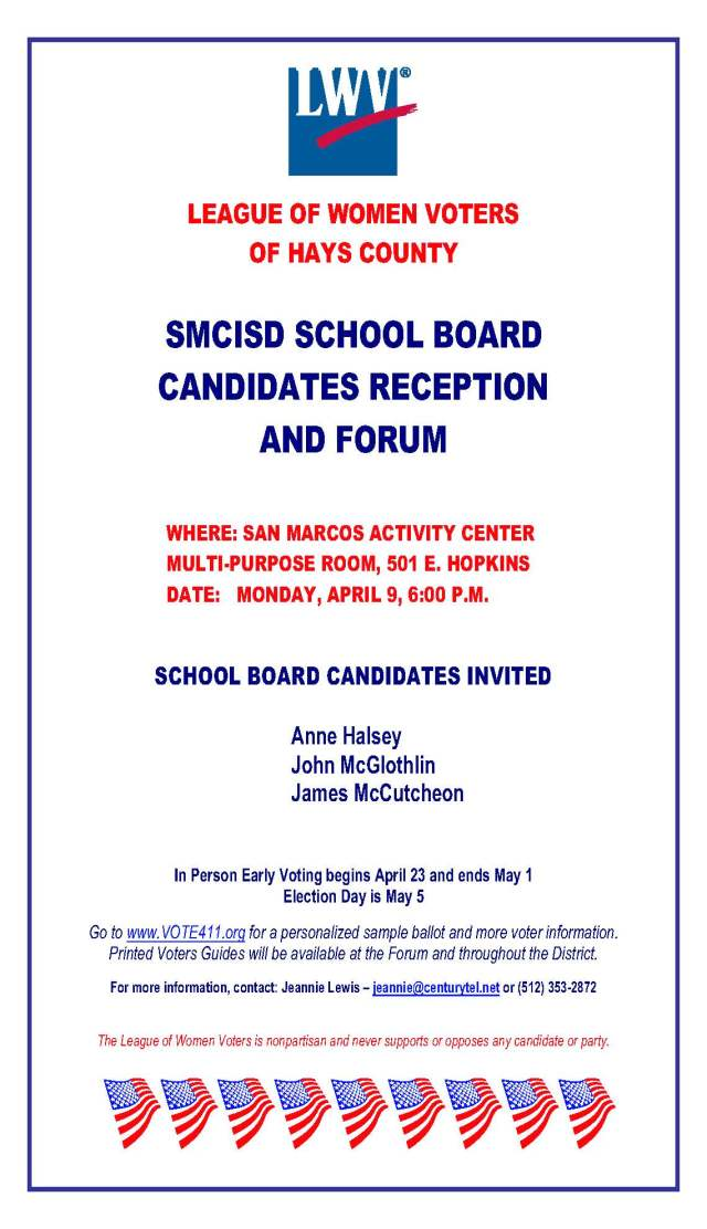 Flyer for LOWV School Board Forum 2018